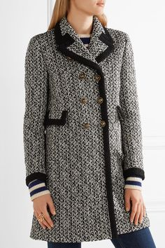 Gucci - Double-breasted Tweed Coat - Black - IT42