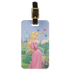 Aurora | Fairy Godmothers Bag Tag #disney #travel Sleeping Beauty Princess, Disney Sleeping Beauty, Princess Aurora, Custom Luggage Tags, Luggage Straps, Standard Business Card Size, Fairy Godmother, Godmothers, Badge