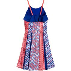 Girls red and blue print dress, by Kenzo. This crepe fabric dress has wonderful movement and drape, and is in the designer's 'Retro Print Theme'. The bodice is lined, elasticated at the back and features a deep flounce all around the top. The longer-length skirt section is very full and has alternating blue and print sections. The dress is elasticated at the waist, has firm tape shoulder straps and is an over the head fitting. With small metal logo sewn at waist.