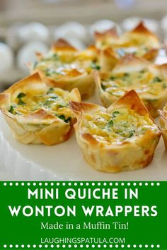 Mini Quiche in Wonton Wrappers - Easy appetizers made in your muffin tin pan!  Serve hot or cold, stuff with ham, cheese or anything you have! #appetizers #partyfood #appetizersforacrowd #quichebites #quicheforacrowd #wontonappetizers #wontonrecipes #quicherecipes Wonton Appetizers, Wonton Recipes, Appetizers For A Crowd, Appetizer Recipes, Cod Recipes, Steak Recipes, Fish Recipes, Crockpot Recipes, Dessert Recipes