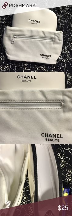 2 NWOT Chanel Beauté Make up bags. Two great Chanel make up bags. Promotional items. These  are in perfect condition never used new and in excellent condition.white Patent leather & white canvas covered in clear patent. One with outside zipper. Class of course.... it's Chanel. Chanel Bags Cosmetic Bags & Cases