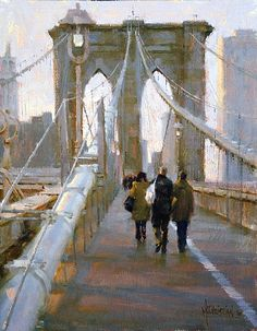 Making Our Way Across by Jennifer McChristian Oil ~ 12 x 16 Paintings I Love, Beautiful Paintings, Urban Landscape, Brooklyn Bridge, Urban Art, Painting Inspiration, Landscape Paintings, Landscapes, Art Oil