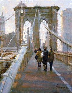 Making Our Way Across by Jennifer McChristian Oil ~ 12 x 16 Paintings I Love, Beautiful Paintings, Oil Paintings, Urban Landscape, Brooklyn Bridge, Urban Art, Art Oil, Landscape Paintings, Landscapes