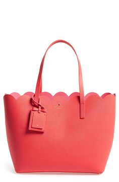 Kate Spade Scalloped Leather tote in Geranium