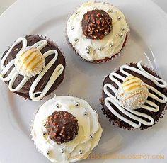 Vanilla Cupcakes with Vanilla Buttercream Frosting and Ferrero Rochers