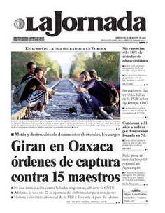 LIDER SINDICAL DE SANDAK,AL CERESO DE APIZANQUITO---LA JORNADA--Portada de 2015/08/19. Seleccione para ir a esta edición.