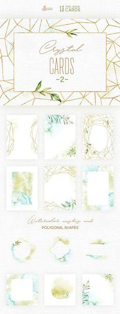 El juego II de cristal tarjetas de mano de alta calidad 13 pintado acuarela floral y poligonales de tarjetas prefabricadas y plantillas. Gráfica perfecta para invitaciones de boda, tarjetas de felicitación, fotos, carteles, frases y más.