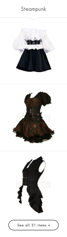 """""""Steampunk"""" by darkmage-aries ❤ liked on Polyvore featuring dresses, alexander mcqueen, short dresses, gowns, mini dress, alexander mcqueen dresses, steampunk, vestidos, short brown dress and brown dress"""