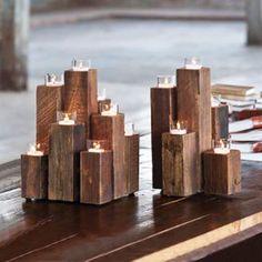 Forest Tea Light Pillars | dotandbo.com~ Not hard to make and looks great. ( battery tea lights of course!)