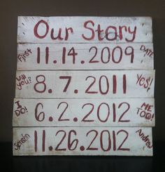 Our Story  Pallet Sign by CraftyDezign on Etsy, $25.00 add a new one for each new baby