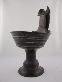 Etruscan, possibly from Vulci        Stemmed Kyathos (Drinking Cup), 550–525 B.C.              Terracotta, bucchero ware