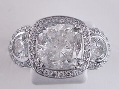Amazing 5.57 ctw Cushion Cut Diamond Engagement Ring!  On sale now for $19,990 at www.bigdiamondsusa.com