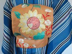 昭和レトロ 夏帯 ひまわりと撫子が咲くレトロな絽帯_画像1