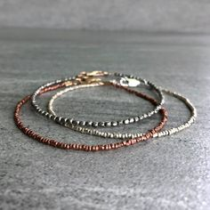 Copper Bead Bracelet Set Real Copper Jewelry Tiny Beaded Jewelry for women or men Bracelets Diy, Gemstone Bracelets, Silver Bracelets, Bracelet Set, Handmade Bracelets, Sterling Silver Necklaces, Gemstone Jewelry, Beaded Jewelry, Silver Jewelry
