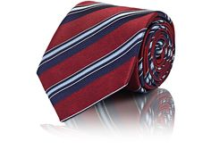BRIONI STRIPED SILK TWILL NECKTIE. #brioni # Nate Archibald, Neckties, Silk Ties, Neiman Marcus, Stripes, Satin, Mens Fashion, Navy, Style