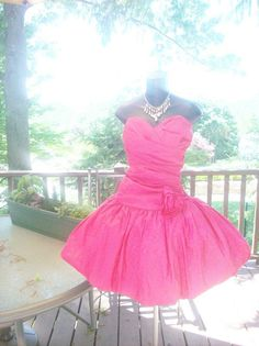 VINTAGE 80s PROM PARTY DRESS ROSE PINK M-L STRETCH BEST IN SHOW