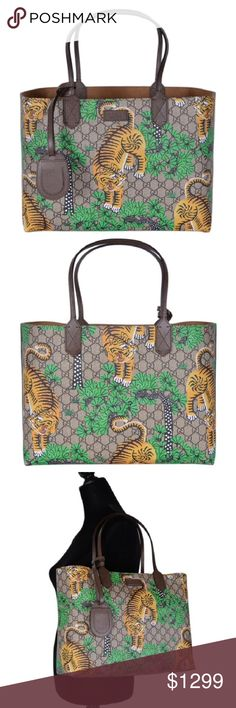 aad8b2bb52c Gucci  412096 Bengal Tiger GG Supreme Large Tote - GG Supreme Coated Canvas  Exterior -