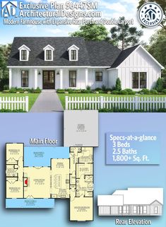 Exclusive Modern Farmhouse with Expansive Rear Porch and Double Carport Architectural Designs Exclusive Farmhouse Plan House Plans One Story, New House Plans, Dream House Plans, Modern House Plans, Small House Plans, One Level House Plans, Square House Plans, Ranch House Plans, Country House Plans