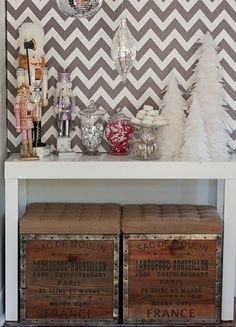 vintage ottomans + chevron #christmasdecor