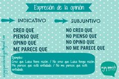 Expresión de la opinión. When to use the subjunctive.
