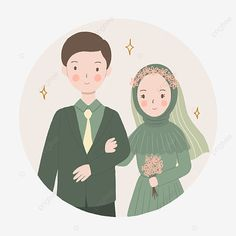 Wedding Illustration, Couple Illustration, Character Illustration, Illustration Art, Bride And Groom Cartoon, Wedding Couple Cartoon, Cute Muslim Couples, Cute Couples, Wedding Caricature