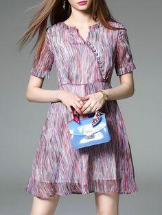 Pink Color Block V Neck A-Line Dress 66.99