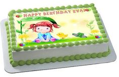 Cute Girl Edible Birthday Cake Topper OR Cupcake Topper, Decor