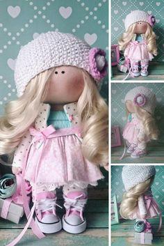 Muñecas Fabric doll Handmade doll Nursery doll Bambole di stoffa Tilda doll Pink doll Cloth doll Baby doll Rag doll Textile doll by Elvira