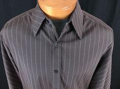 7 DIAMONDS M Textured Brown Pink Vertical Pinstripe L/S Button Down Shirt  #7Diamonds #ButtonFront