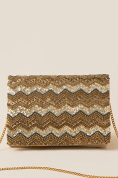 The Liz Zig-Zag Beaded Clutch Crossbody features a bright turquoise lining. Beaded Clutch, Beaded Bags, Hand Embroidery Design Patterns, Crochet Bag Tutorials, Custom Purses, Potli Bags, Lesage, Make Beauty, Boho Bags