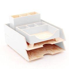 White Desk Accessories Desk Organizer Wood Desk Organizer