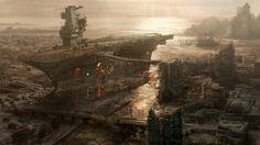 oil - middle east Rivet City Concept Art from Fallout 3 Art Fallout, Fallout Concept Art, Fallout 3 Wallpaper, Wallpaper Pc, 3d Fantasy, Fantasy Places, Final Fantasy, Post Apocalypse, Matte Painting