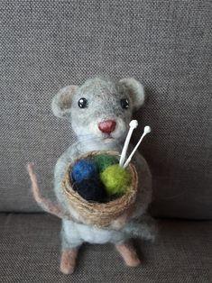 Needle felt knitting mouse by Anita.