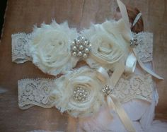 Lace Garter And Satin Band Toss Wedding In Ivory On Champagne With Pearl Crystal Detail