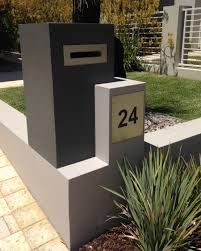Yellow Metal design and manufacture high quality custom letterboxes, house numbers and signage for your home or business. Parcel Drop Box, Home Mailboxes, Cement Render, Facade House, House Facades, House Numbers, Planter Boxes, Perth, Custom Design