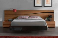 Lacquered Made in Spain Wood High End Platform Bed with Designer Touch