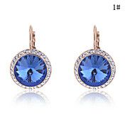 Gold Plated Alloy Zircon Round Pattern Earrin... – GBP £ 5.48