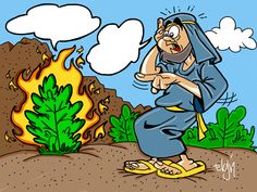 Moses and the Burning Bush Cartoon & Coloring Page