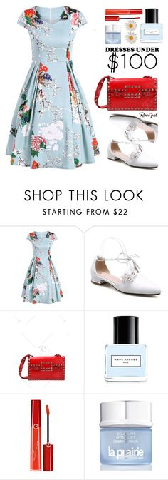 """""""Rosegal Dresses Under $100"""" by justkejti ❤ liked on Polyvore featuring Marc Jacobs, Giorgio Armani, La Prairie, under50, floraldress, under100 and rosegal"""