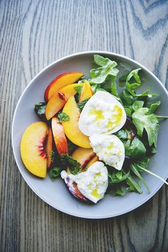 Burrata Salad with Stone Fruit, Mint and Chilis  Do I spot eggs?!