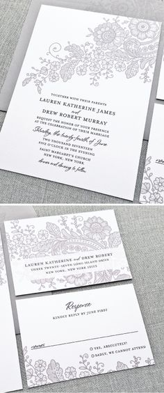 Elegant Lauren gray lace wedding invitation with beautiful black script font and charcoal gray envelope. Colors and fonts can be customized to fit your wedding perfectly!