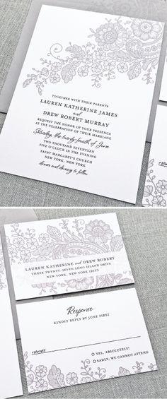 Lauren Gray Lace Wedding Invitation
