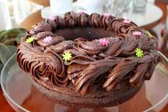Chocolate Buttermilk ring cake with rich chocolate buttercream frosting