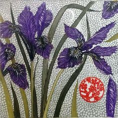 Winter Irises, botanical etching and aquatint of a flower, by Jean Bardon