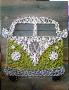 VW Bus, Hippie Van, String Art