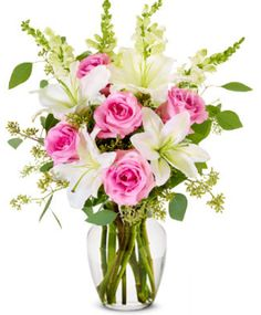 Pink Rose and Lily Sympathy Arrangement (FREE Vase Included) - Flowers Mothers Day Flowers, Flowers For You, Real Flowers, Amazing Flowers, Artificial Flowers, Rose Violette, Calla Lily Bouquet, Sympathy Flowers, Purple Roses