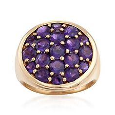 Ross-Simons - 3.00 ct. t.w. Amethyst Circle Cluster Ring in 18kt Gold Over Sterling - #826417