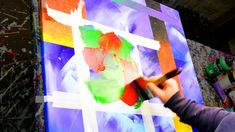 Abstract Painting Demo Acrylics using masking tape, brush and paper towe...