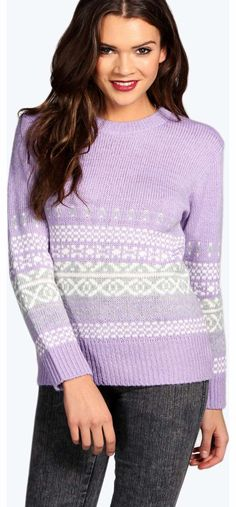 boohoo Alice Soft Kinit Fairisle Jumper - lilac azz14087 Go back to nature with your knits this season and add animal motifs to your must-haves. When youre not wrapping up in woodland warmers, nod to chunky Nordic knits and polo neck jumpers in peppered mar http://www.comparestoreprices.co.uk/womens-clothes/boohoo-alice-soft-kinit-fairisle-jumper--lilac-azz14087.asp