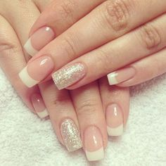 Glittering Gold French Manicure Design - french with accent nail